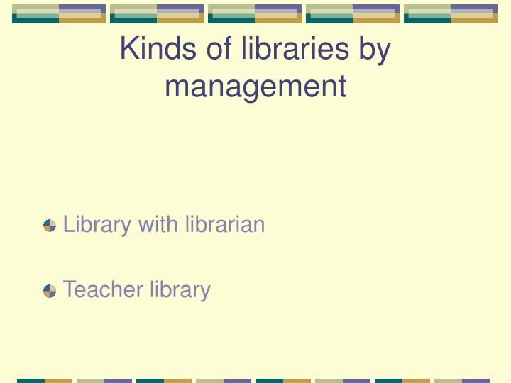 Kinds of libraries by management