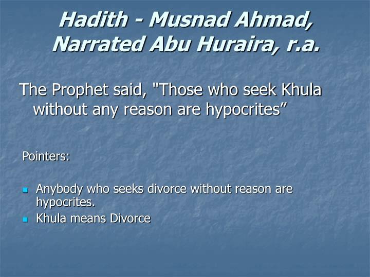 Hadith - Musnad Ahmad, Narrated Abu Huraira, r.a.