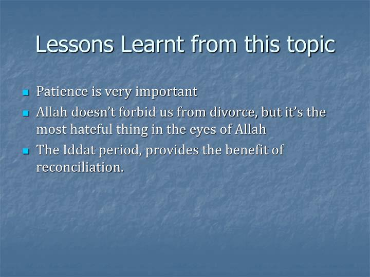 Lessons Learnt from this topic