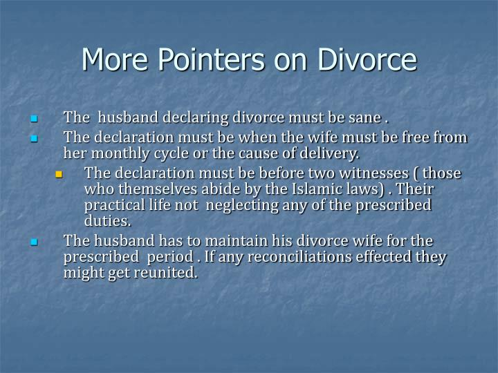 More Pointers on Divorce