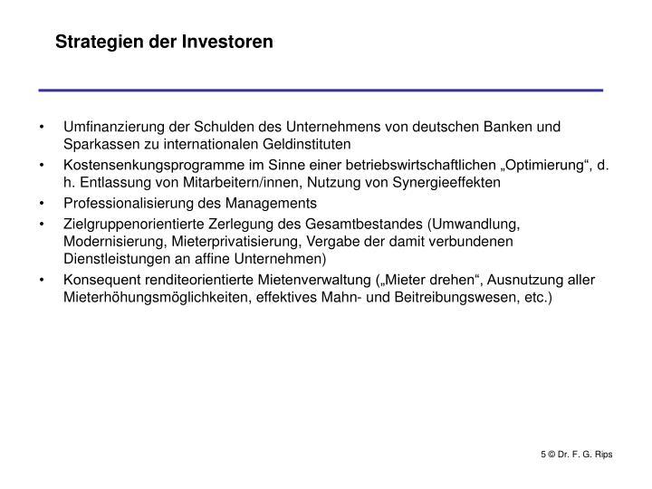 Strategien der Investoren