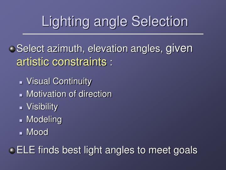 Lighting angle Selection