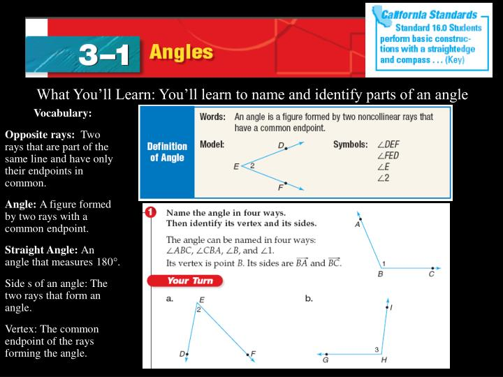 What You'll Learn: You'll learn to name and identify parts of an angle