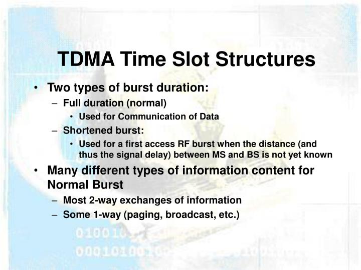 TDMA Time Slot Structures