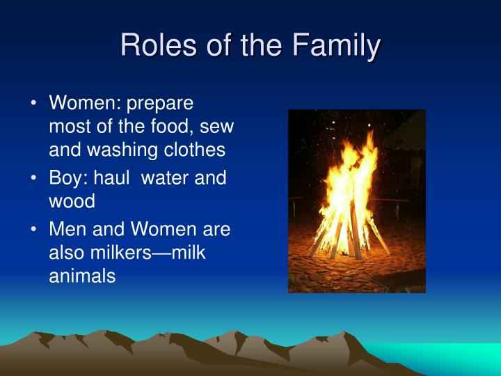 Women: prepare most of the food, sew and washing clothes
