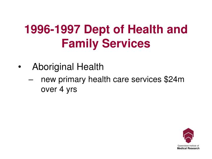 1996-1997 Dept of Health and Family Services