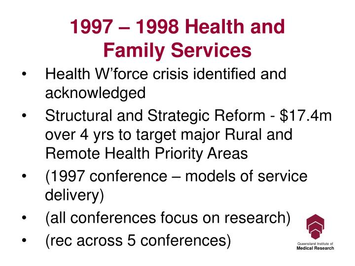 1997 – 1998 Health and