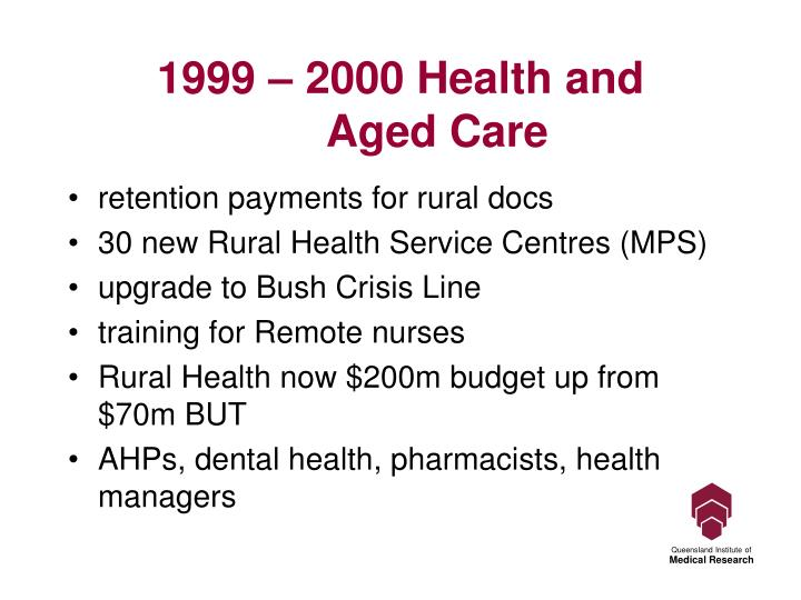 1999 – 2000 Health and