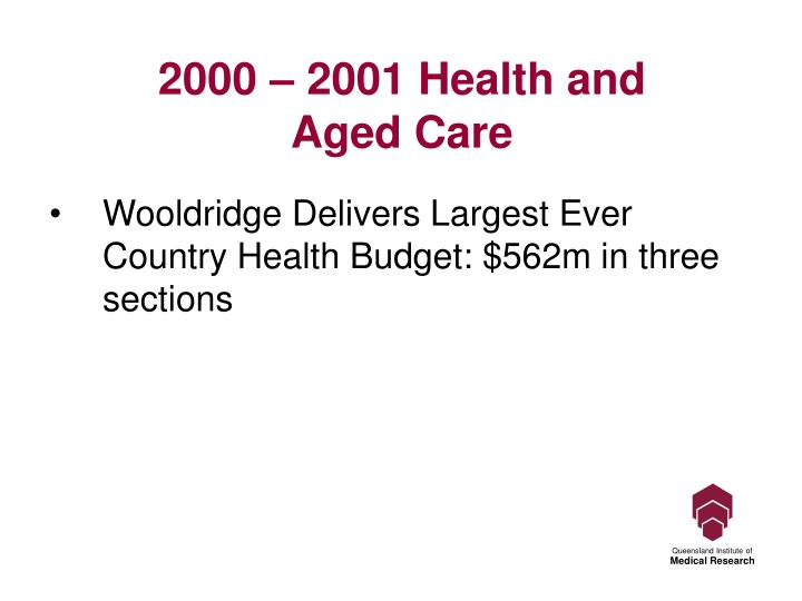 2000 – 2001 Health and