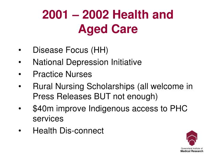 2001 – 2002 Health and