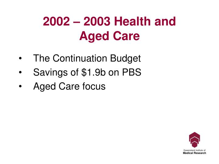 2002 – 2003 Health and