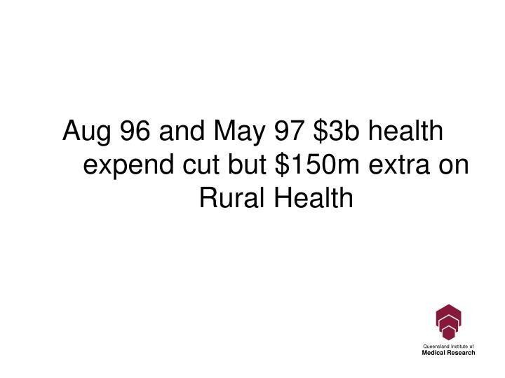 Aug 96 and May 97 $3b health expend cut but $150m extra on Rural Health