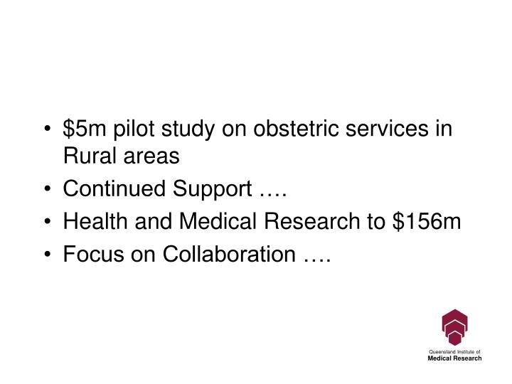$5m pilot study on obstetric services in Rural areas