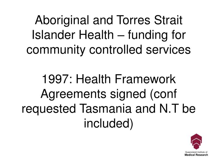 Aboriginal and Torres Strait Islander Health – funding for community controlled services