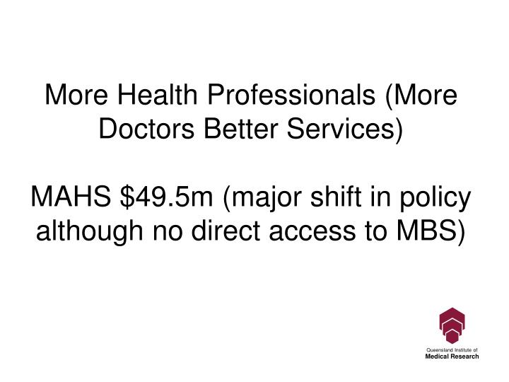 More Health Professionals (More Doctors Better Services)