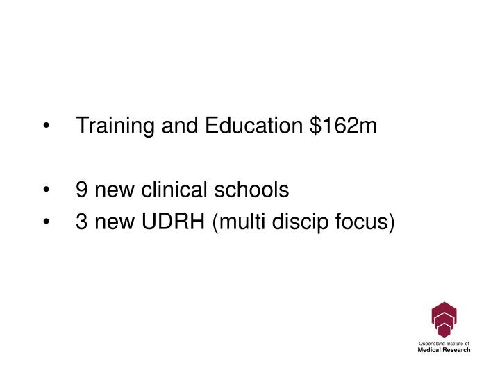 Training and Education $162m