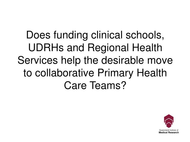 Does funding clinical schools, UDRHs and Regional Health Services help the desirable move to collaborative Primary Health Care Teams?