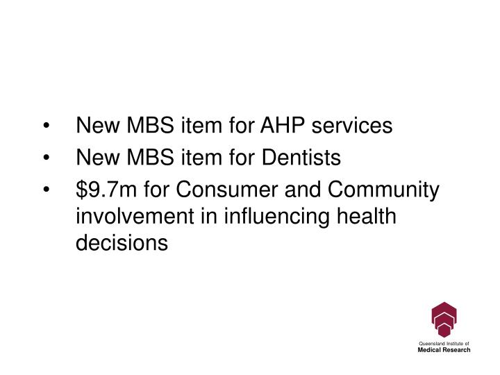 New MBS item for AHP services
