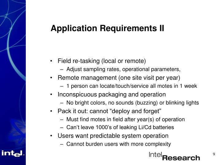Application Requirements II