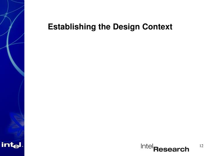 Establishing the Design Context