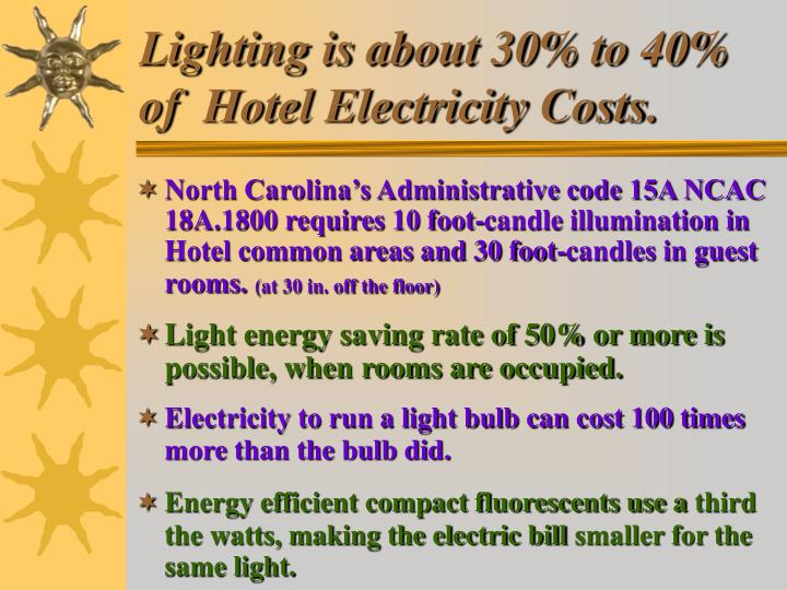Lighting is about 30% to 40% of  Hotel Electricity Costs.
