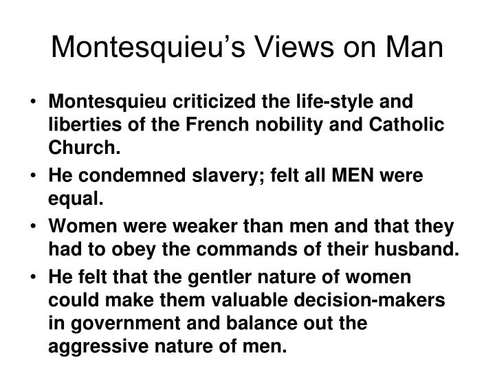 Montesquieu's Views on Man