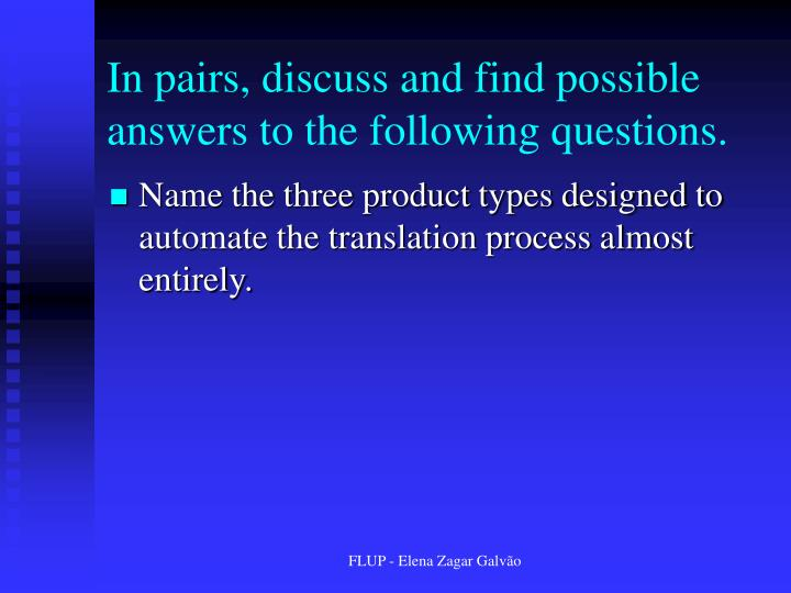 In pairs, discuss and find possible answers to the following questions.