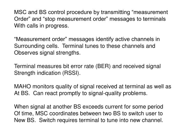 """MSC and BS control procedure by transmitting """"measurement"""