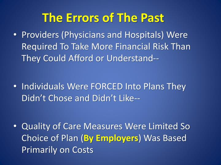 The Errors of The Past