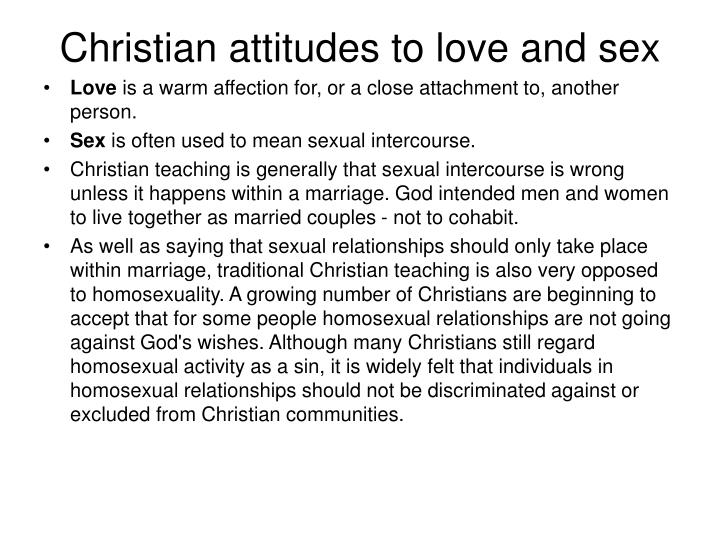 Christian attitudes to love and sex