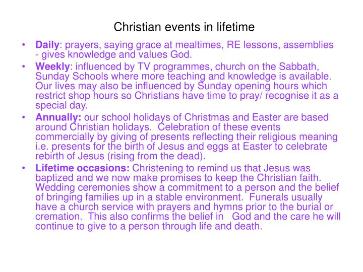 Christian events in lifetime
