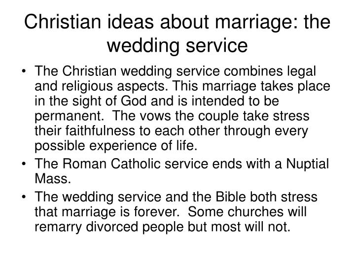 Christian ideas about marriage: the wedding service