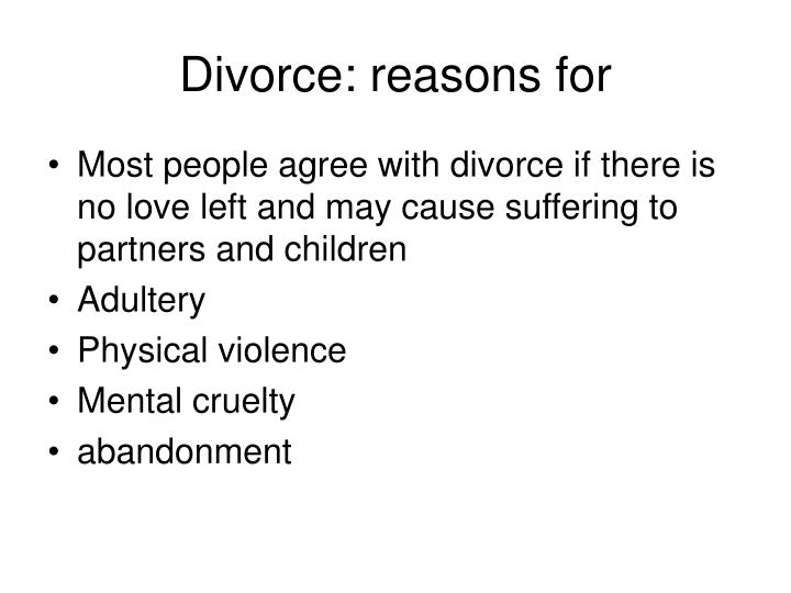 Divorce: reasons for