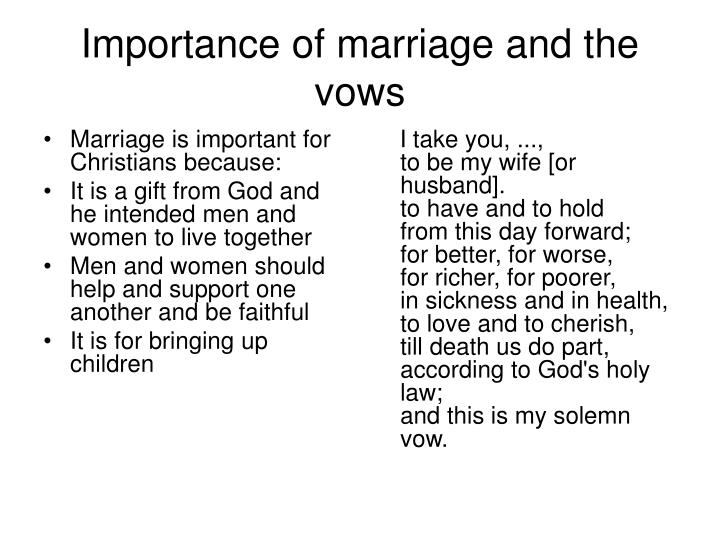 Marriage is important for Christians because: