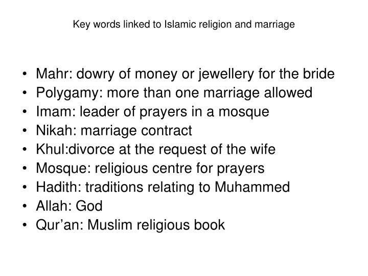 Key words linked to Islamic religion and marriage