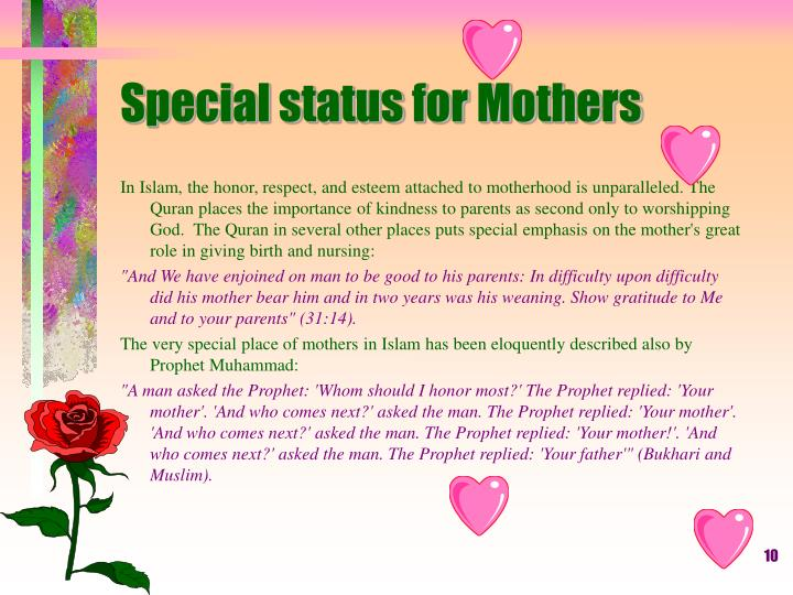 Special status for Mothers
