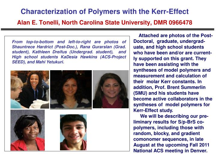 Characterization of Polymers with the Kerr-Effect
