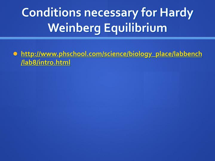 Conditions necessary for Hardy Weinberg Equilibrium
