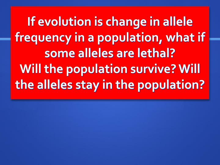 If evolution is change in allele frequency in a population, what if some alleles are lethal?