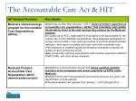 the accountable care act hit