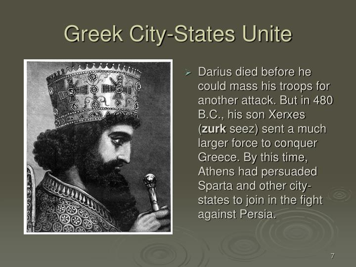 Darius died before he could mass his troops for another attack. But in 480 B.C., his son Xerxes (
