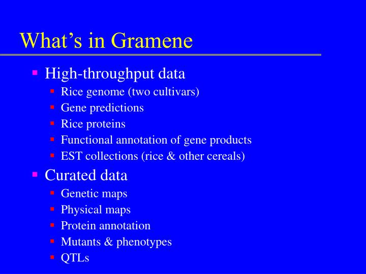What's in Gramene