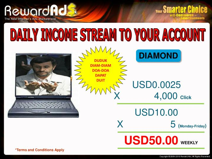 DAILY INCOME STREAM TO YOUR ACCOUNT