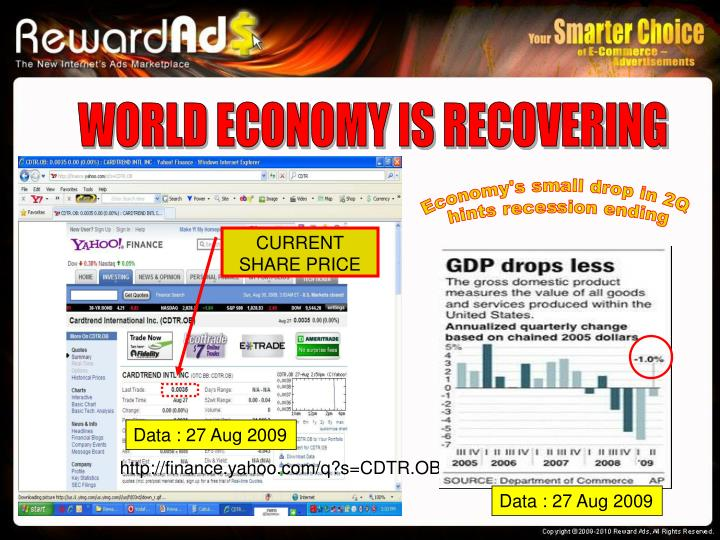 WORLD ECONOMY IS RECOVERING