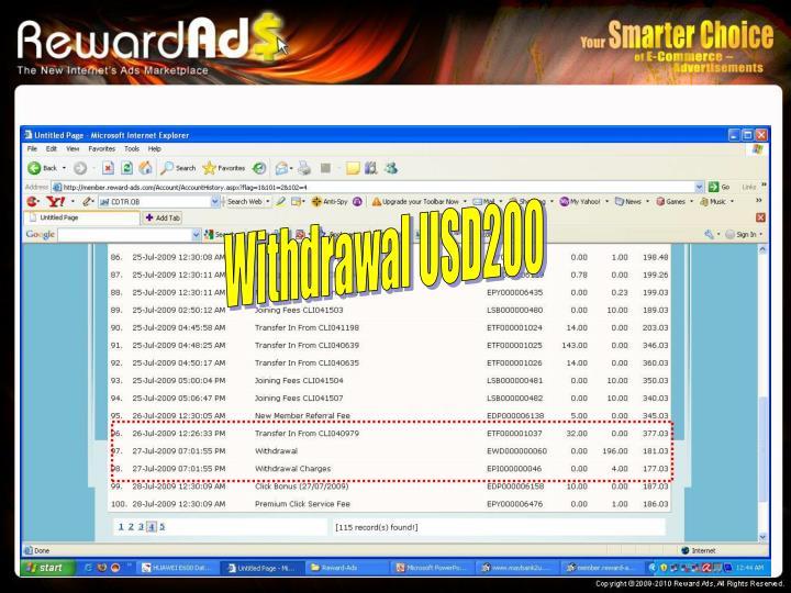 Withdrawal USD200