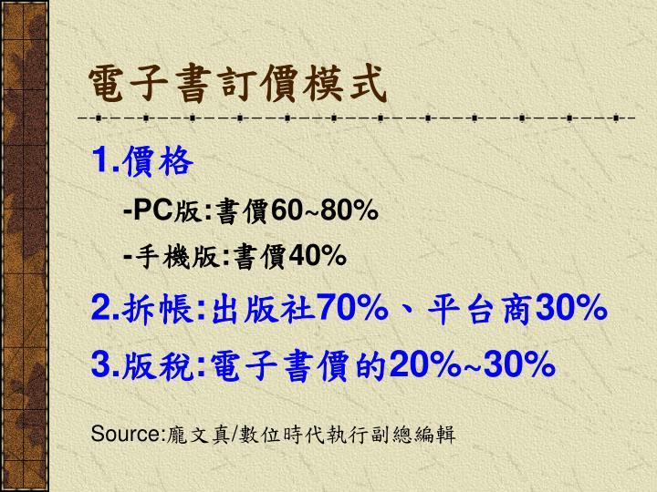 電子書訂價模式