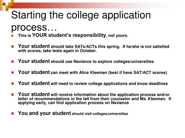 Starting the college application process…