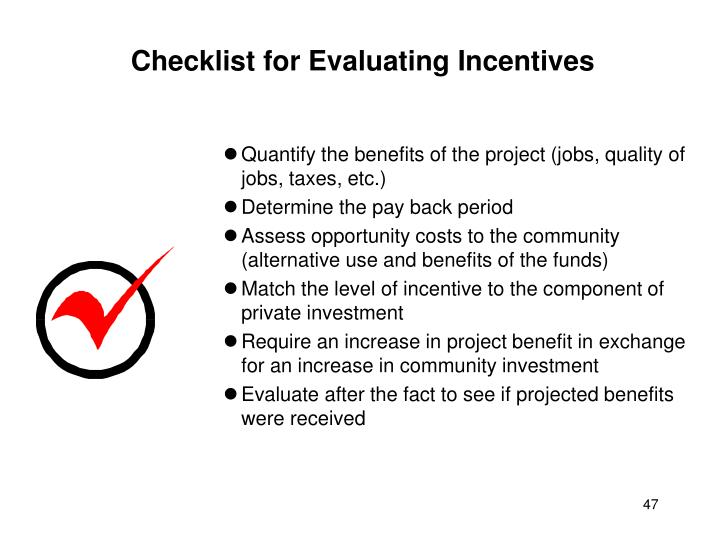 Checklist for Evaluating Incentives