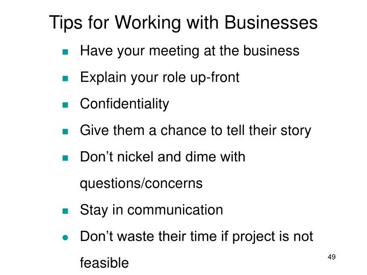 Tips for Working with Businesses