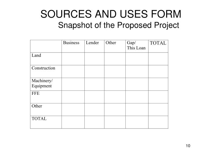 SOURCES AND USES FORM